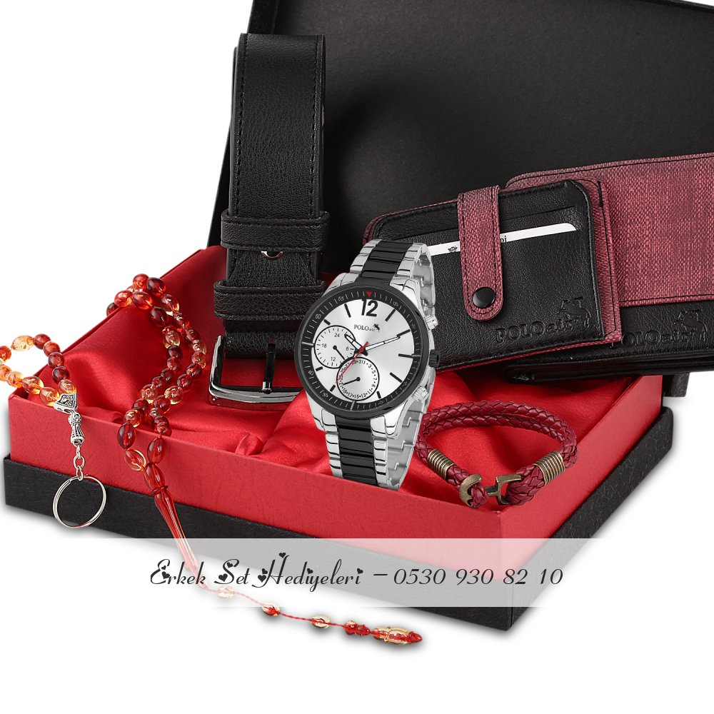 Polo Air Erkek Kol Saati Cüzdan Kartlık Kemer Tesbih Set - 526